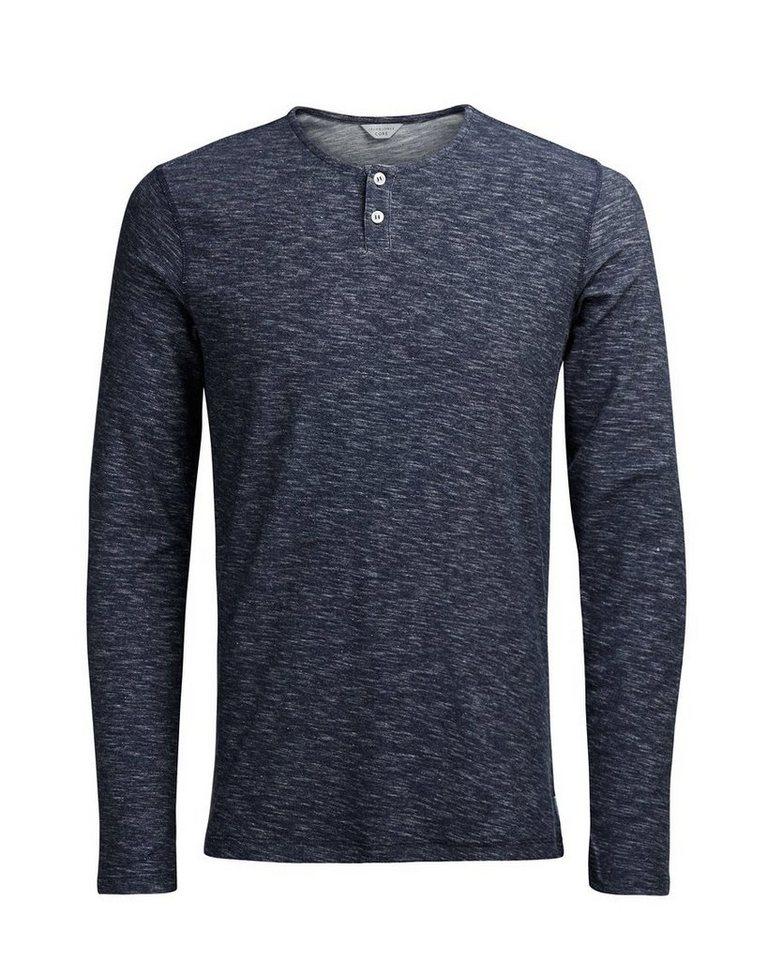 Jack & Jones Meliertes T-Shirt mit langen Ärmeln in Navy Blazer