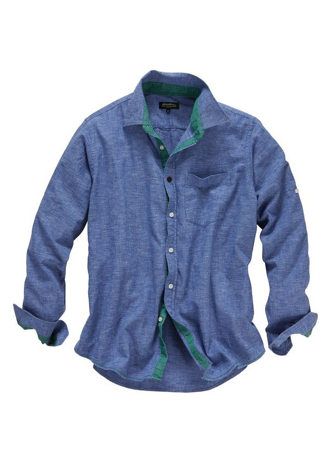 Eddie Bauer Hemd mit Leinen in Blau