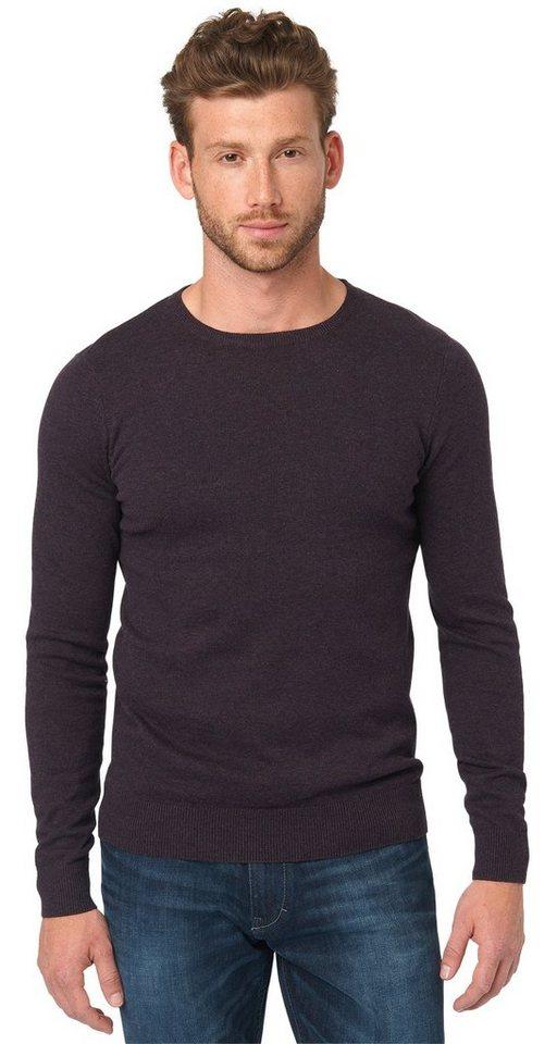 TOM TAILOR Pullover »Basic Rundhalspullover« in winter purple melang