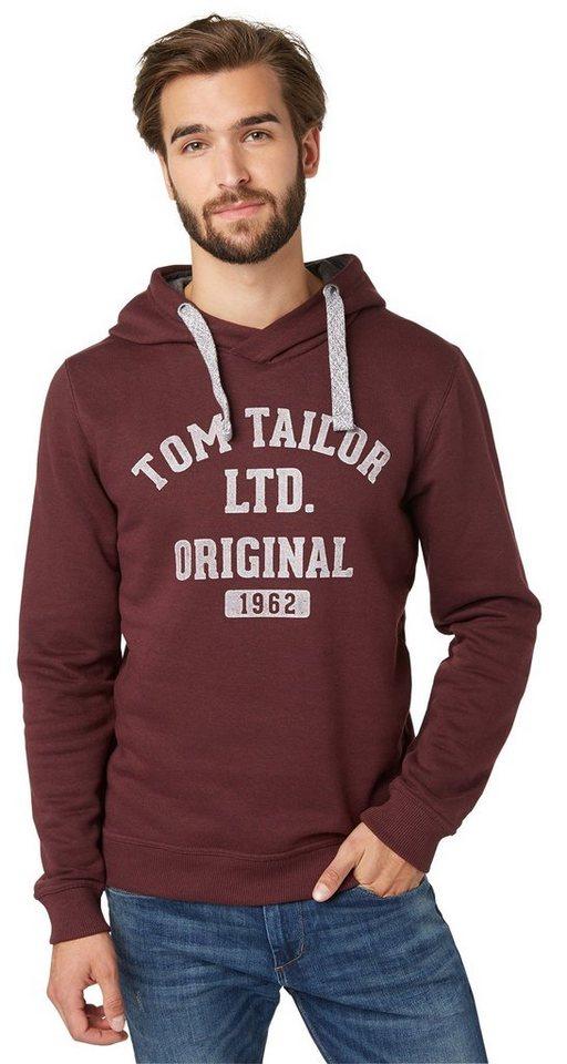 TOM TAILOR Sweatshirt »Hoodie mit Logo-Print« in winter purple melang