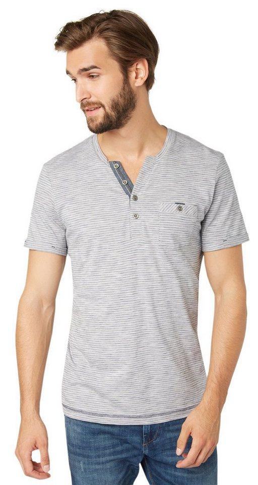 TOM TAILOR T-Shirt »gestreiftes Henley-Shirt« in dark denim blue