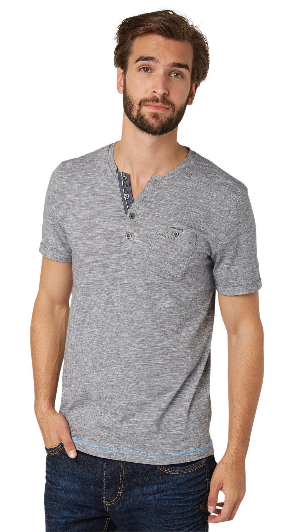 TOM TAILOR T-Shirt »gestreiftes Henley-Shirt«