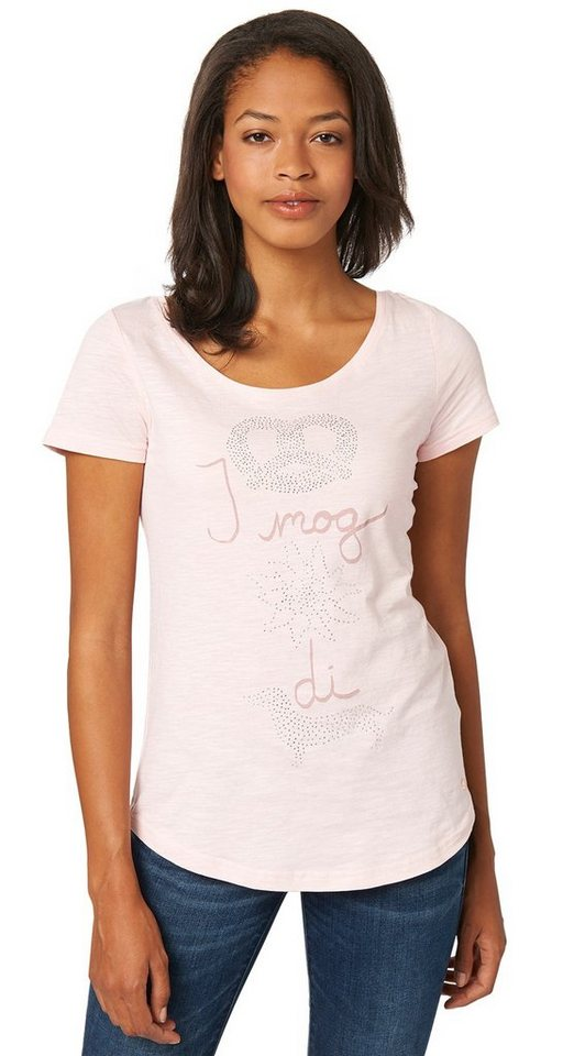 TOM TAILOR T-Shirt »rhinestones print tee« in candy pink