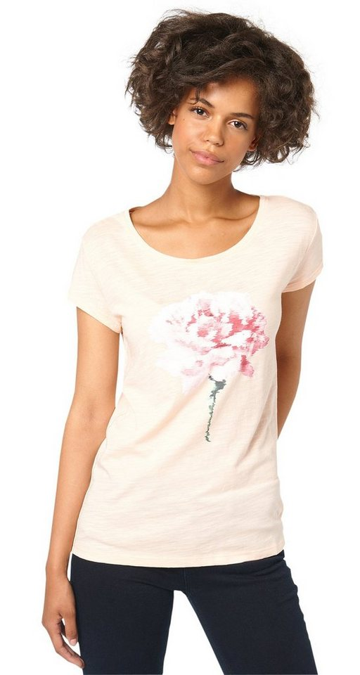 TOM TAILOR DENIM T-Shirt »relaxed shirt with print« in light peach rose