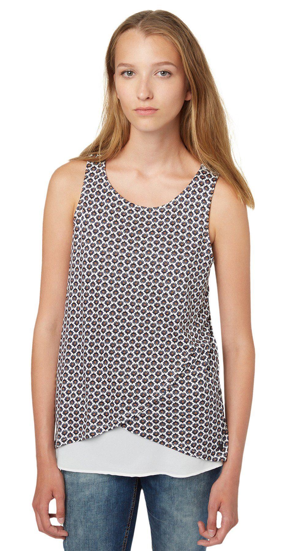 TOM TAILOR DENIM T-Shirt »Stoffmix-Top mit Allover-Print«