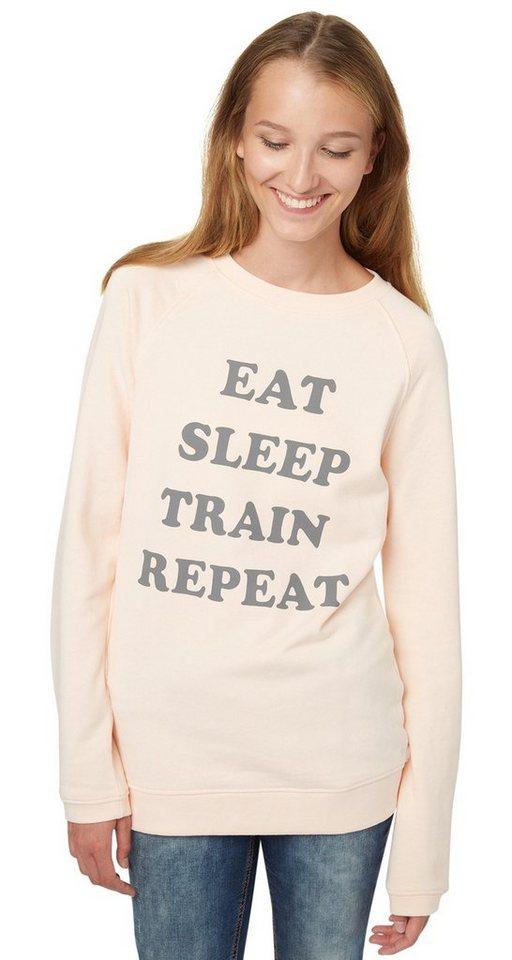 TOM TAILOR DENIM Sweatshirt »sportlicher Sweater mit Print« in light peach rose