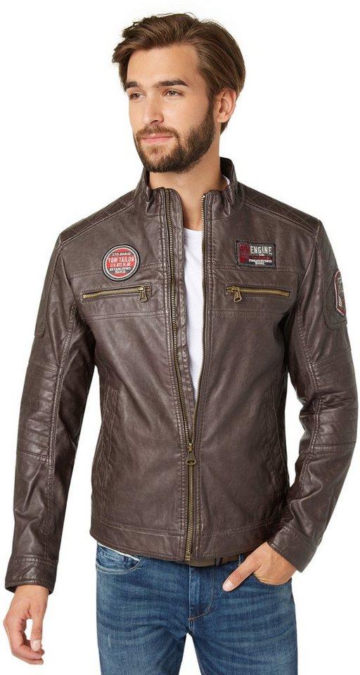 TOM TAILOR Lederjacke »Fake leather jacket« in after dark brown