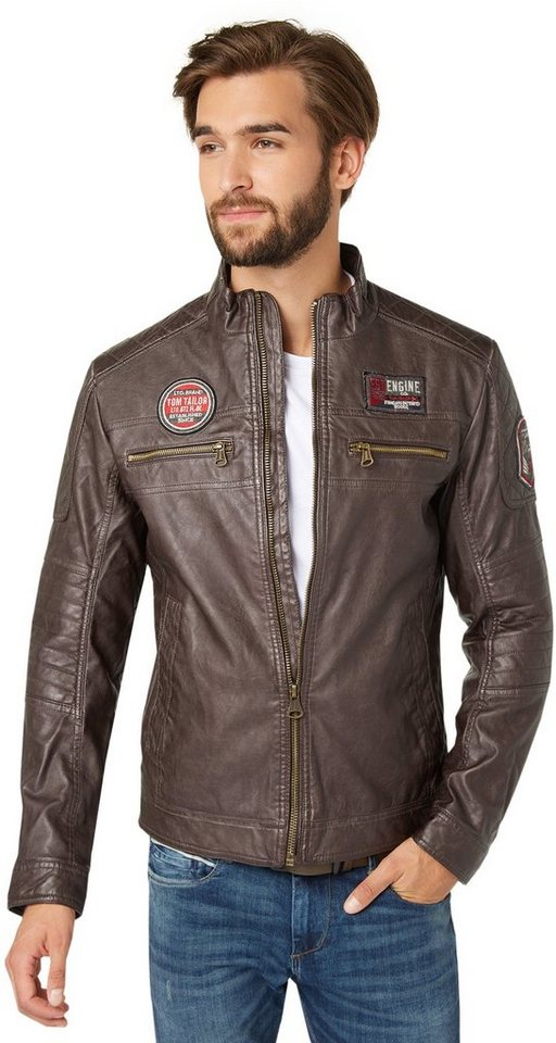TOM TAILOR Lederjacke »Jacke im Biker-Look« in after dark brown