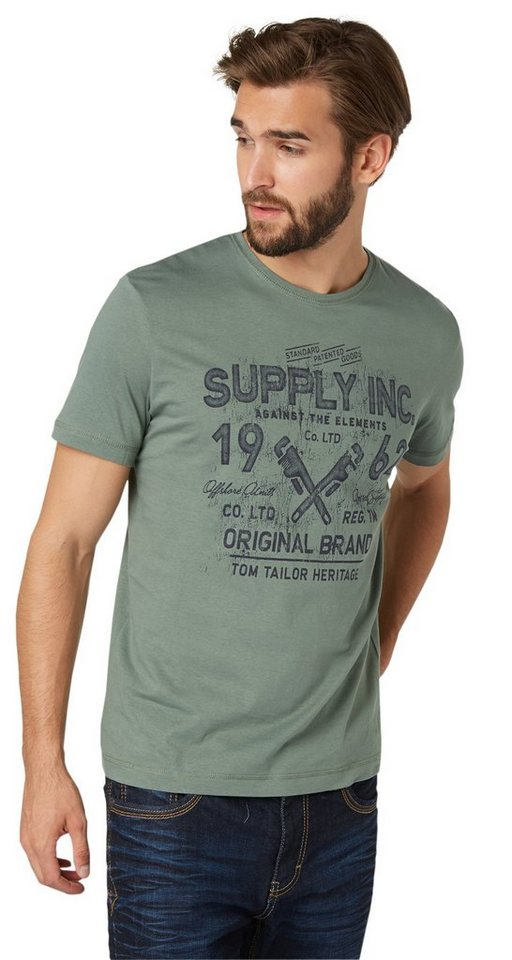 TOM TAILOR T-Shirt »T-Shirt mit Print« in pale bark green