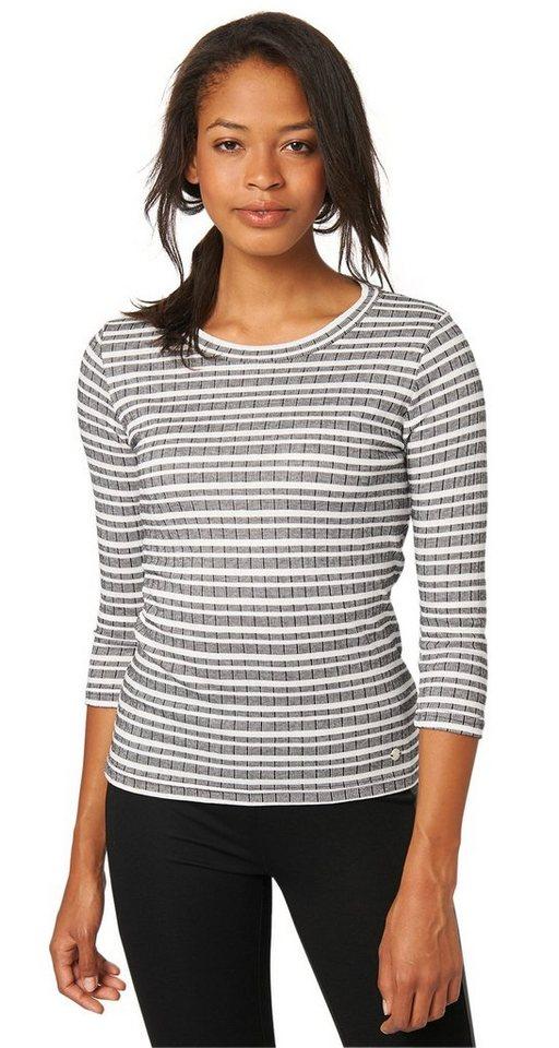 TOM TAILOR T-Shirt »Ripp-Shirt mit Streifen-Muster« in Coal Grey