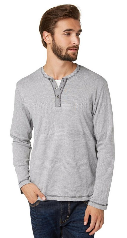 TOM TAILOR T-Shirt »striped henley« in tarmac grey