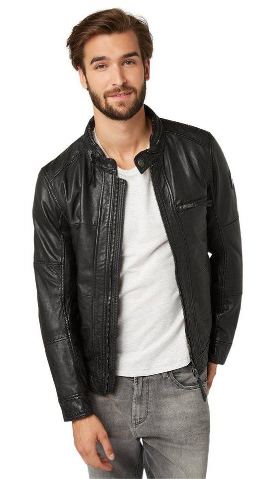 TOM TAILOR Lederjacke »Echtleder-Jacke im Biker-Look« in black