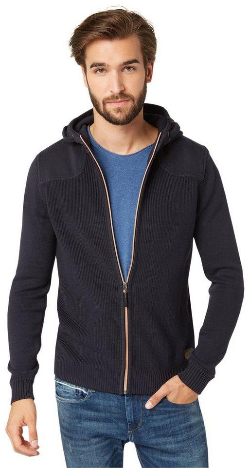 TOM TAILOR Strickjacke »Strick-Hoodie mit Reißverschluss« in knitted navy