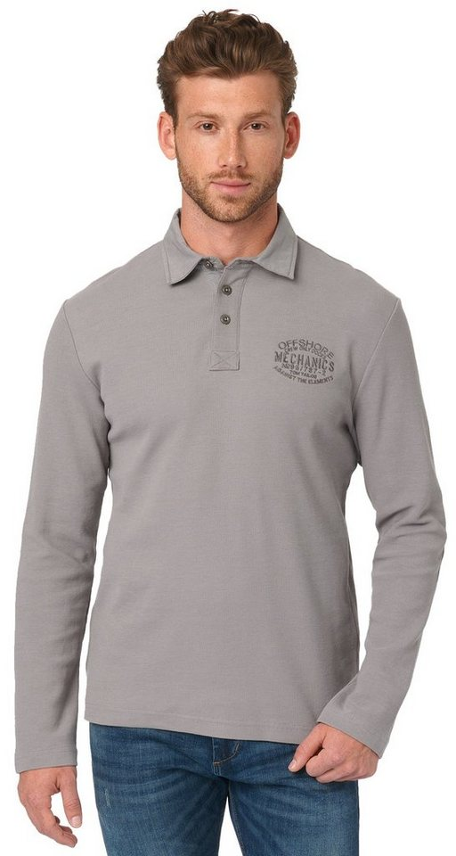 TOM TAILOR Poloshirt »Langärmliges Polo-Shirt« in medium silver grey