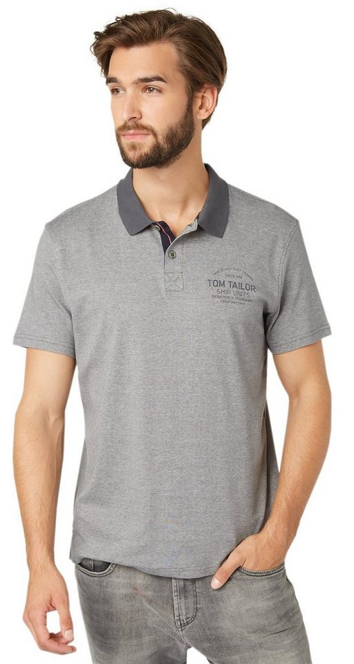 TOM TAILOR Poloshirt »fein gestreiftes Poloshirt« in tarmac grey