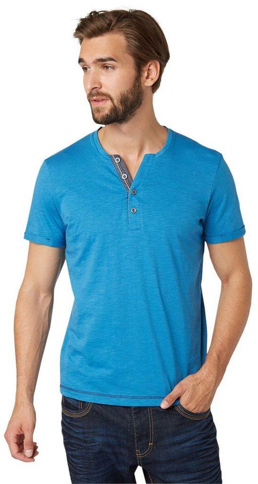 TOM TAILOR T-Shirt »Serafino-Shirt« in dark celeste blue
