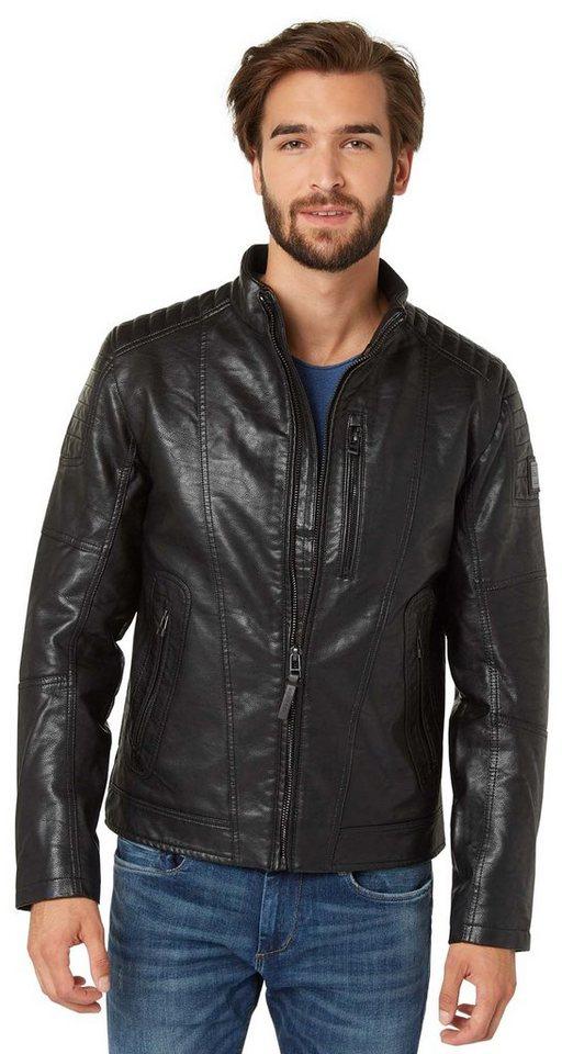 TOM TAILOR Lederjacke »Biker-Jacke aus Kunstleder« in black