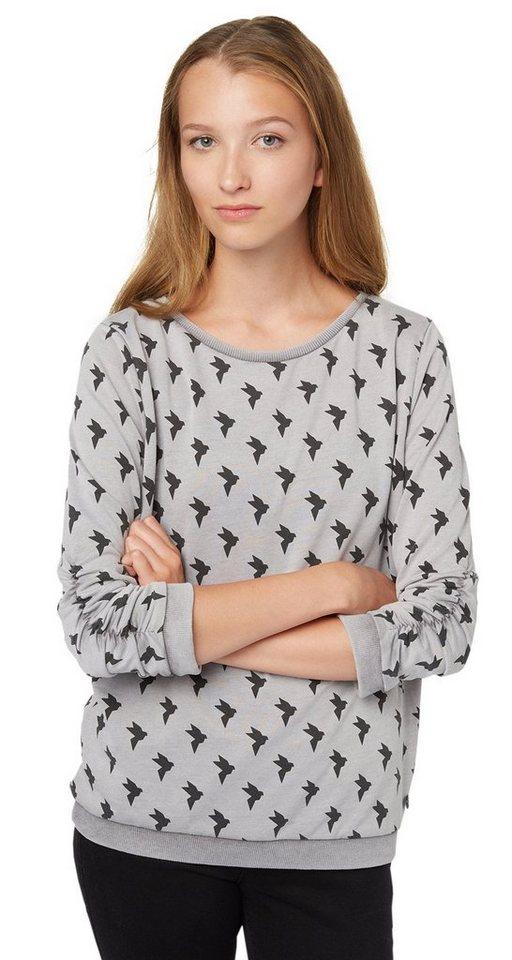 TOM TAILOR DENIM Sweatshirt »Sweater mit Vogel-Print« in shale grey melange