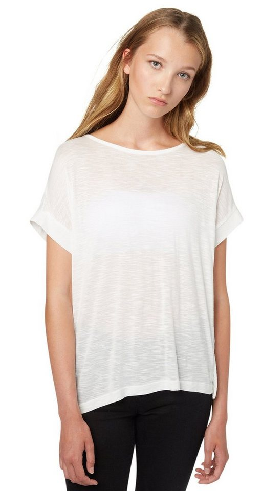 TOM TAILOR DENIM T-Shirt »feminine T-Shirt im Material-Mix« in off white