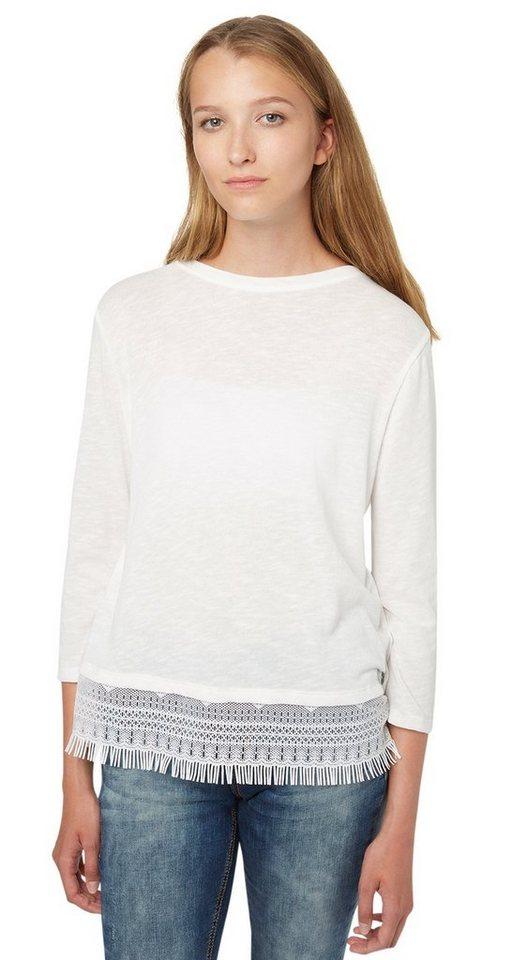 TOM TAILOR DENIM T-Shirt »2-in-1 Shirt mit Spitzen-Underlayer« in off white