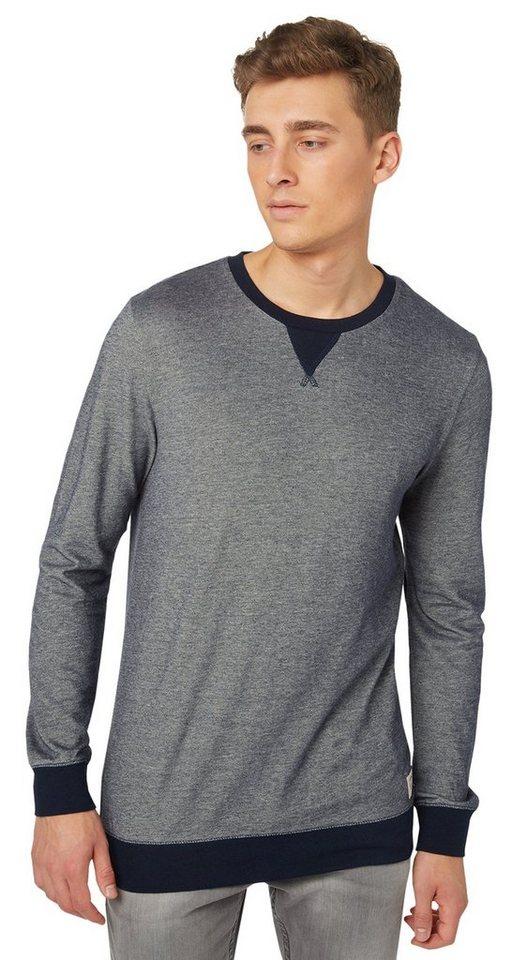 TOM TAILOR DENIM T-Shirt »Langarm-Shirt ihm Highschool-Look« in night sky blue