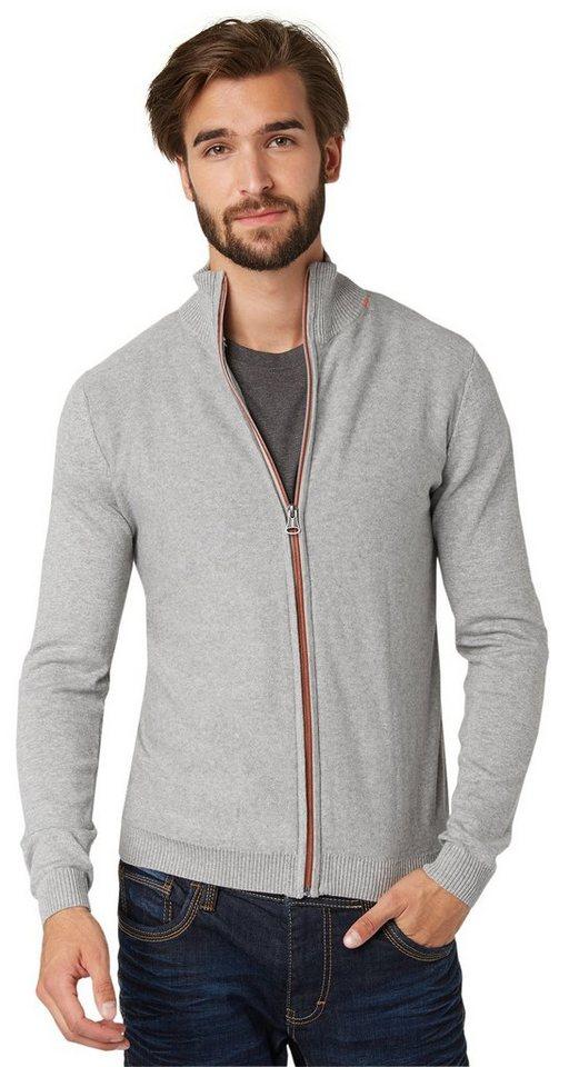 TOM TAILOR Strickjacke »Strickjacke mit Kontrast-Zipper« in grey heather