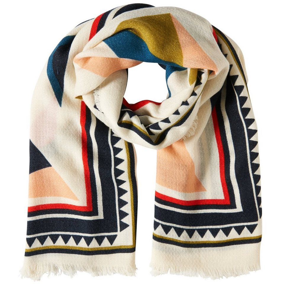 TOM TAILOR DENIM Schal »weicher Schal mit angesagtem Print« in off white