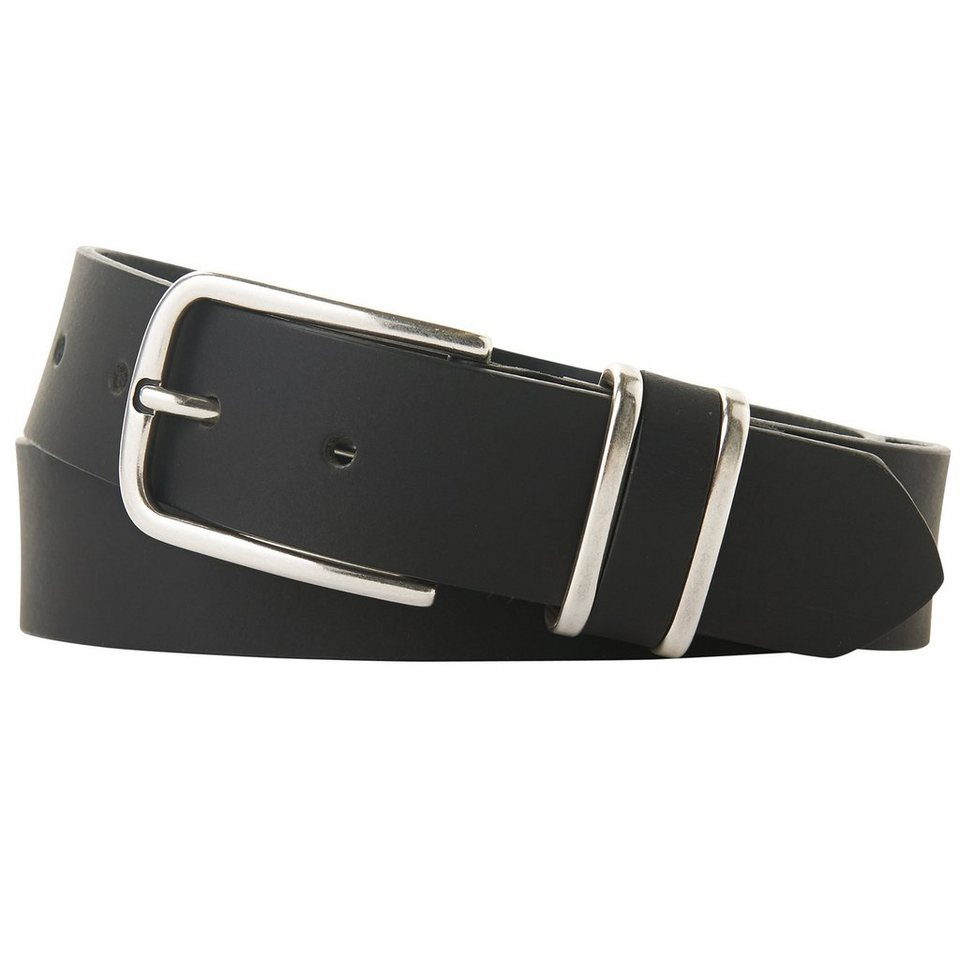 TOM TAILOR Gürtel »Ledergürtel mit Metall-Schlaufen« in black