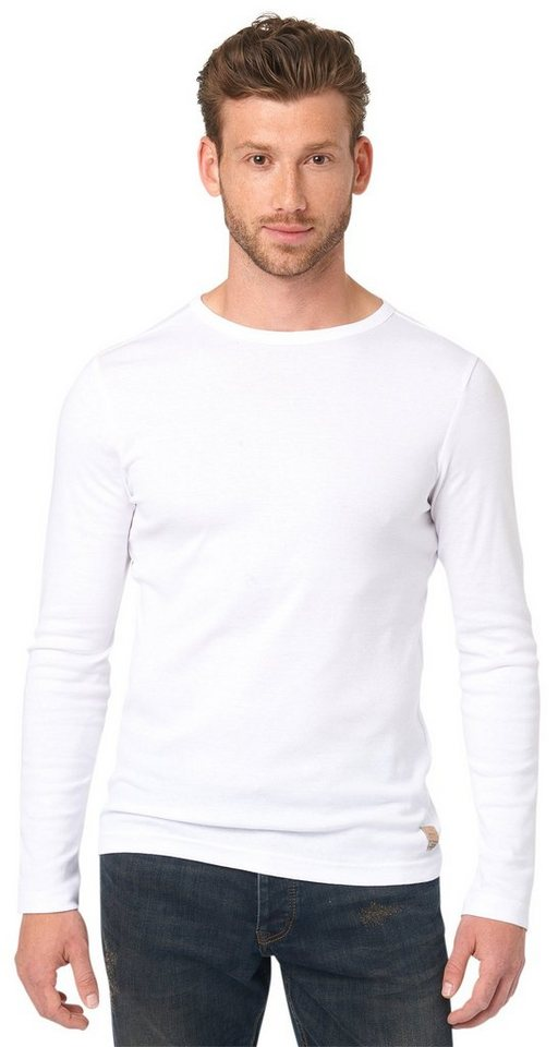 TOM TAILOR T-Shirt »unifarbenes Langarm-Shirt« in white