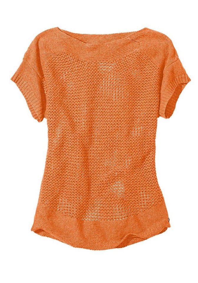 Eddie Bauer Lochstrick-Pullover in Orange meliert