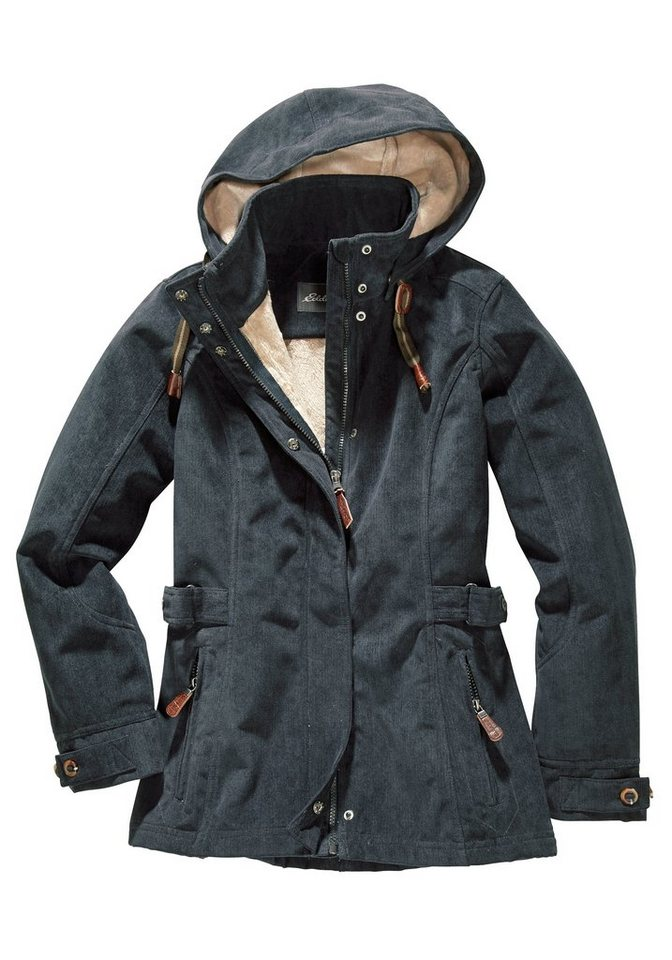 Eddie Bauer Softshell-Jacke in Cord-Optik in Washed Navy