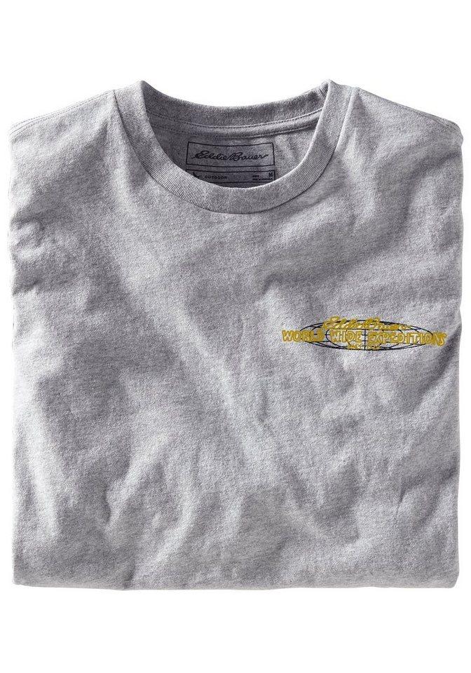 Eddie Bauer T-Shirt mit Motivdruck in Hellgrau meliert