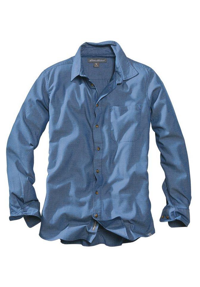 Eddie Bauer Gestreiftes Hemd in Jeans-Optik in Blau gestreift