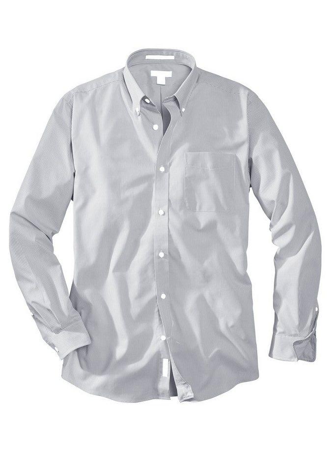 Eddie Bauer Bügelleichtes Oxfordhemd in Grau gestreift