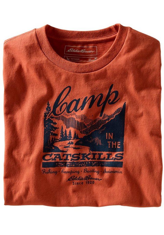 Eddie Bauer T-Shirt Camp Catskills in Dunkelorange