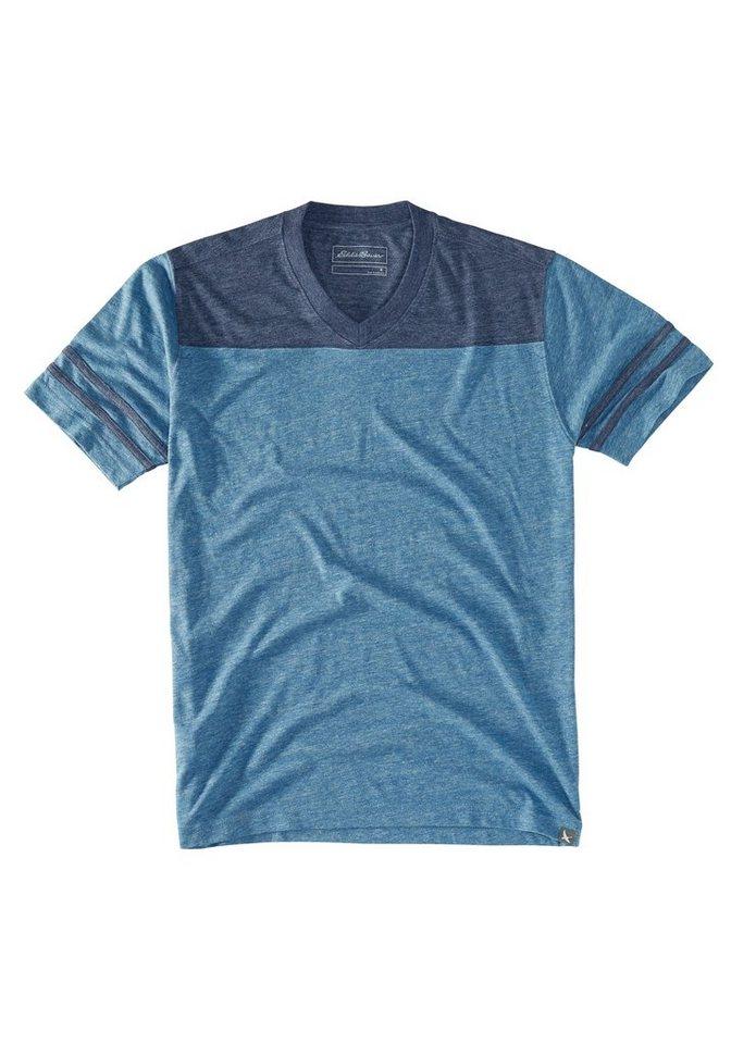 Eddie Bauer T-Shirt mit V-Ausschnitt in Indigo meliert