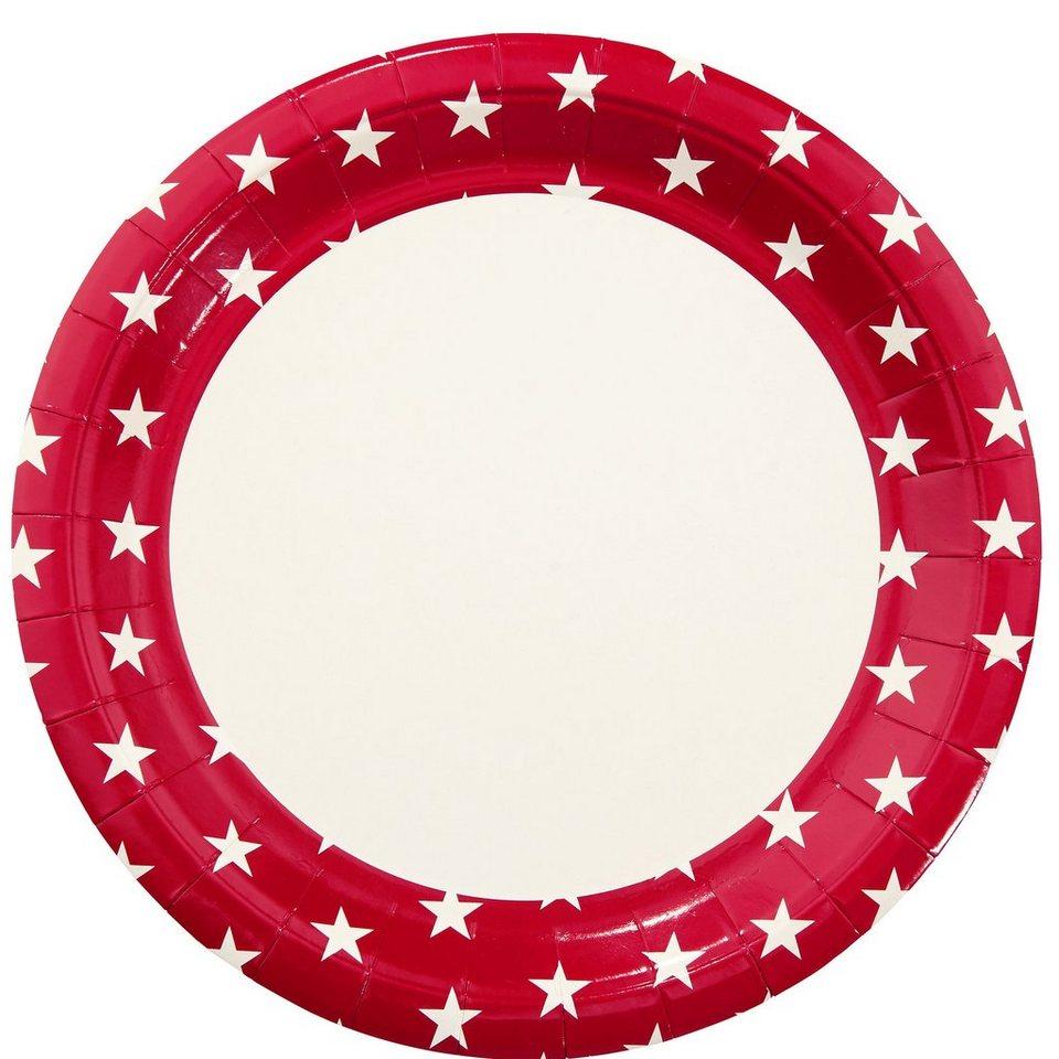 BUTLERS STARS »Pappteller kleine Sterne« in rot-weiss