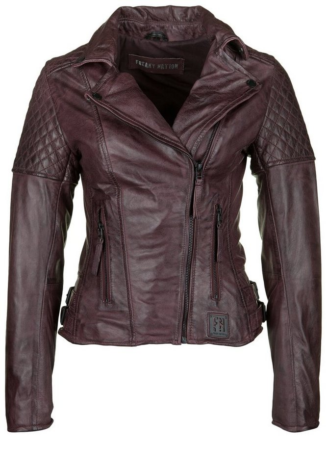 Freaky Nation Lederjacke »GLORY 1« in dark rubis