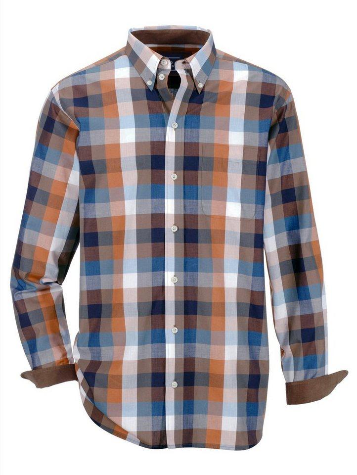 Babista Hemd mit Feincord-Besatz in braun-petrol