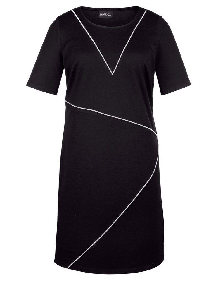 MIAMODA Kleid mit raffinierter Reißverschlussoptik in schwarz