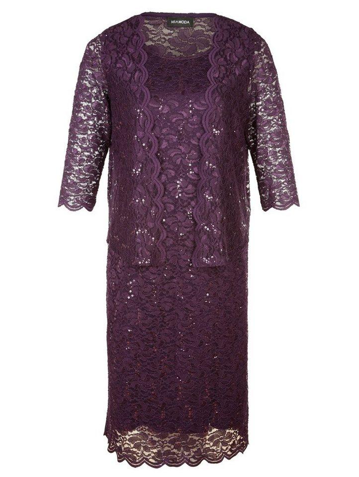 MIAMODA Kleid mit Bolero in edler Spitzenoptik in lila