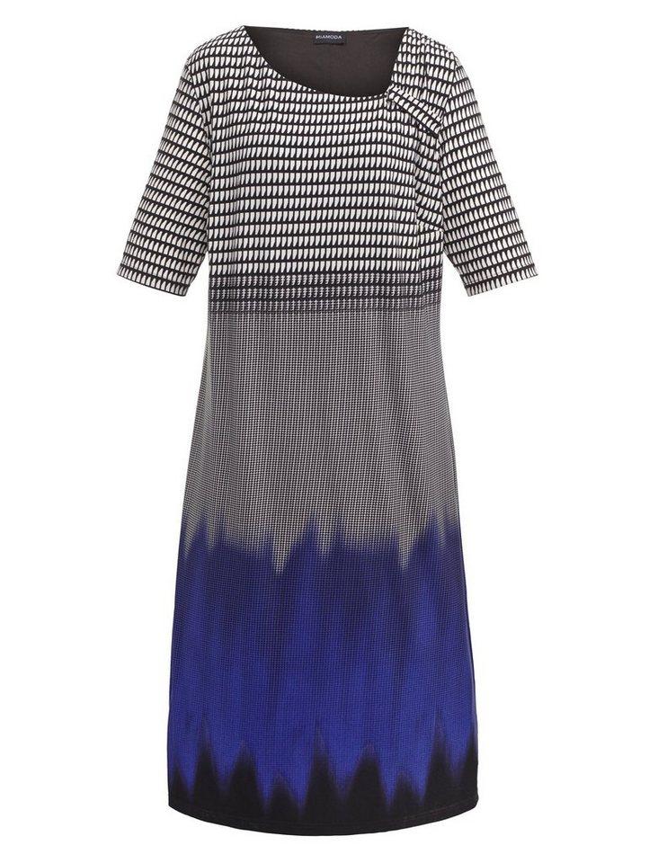 MIAMODA Kleid mit modischer Raffung in blau/schwarz/weiß
