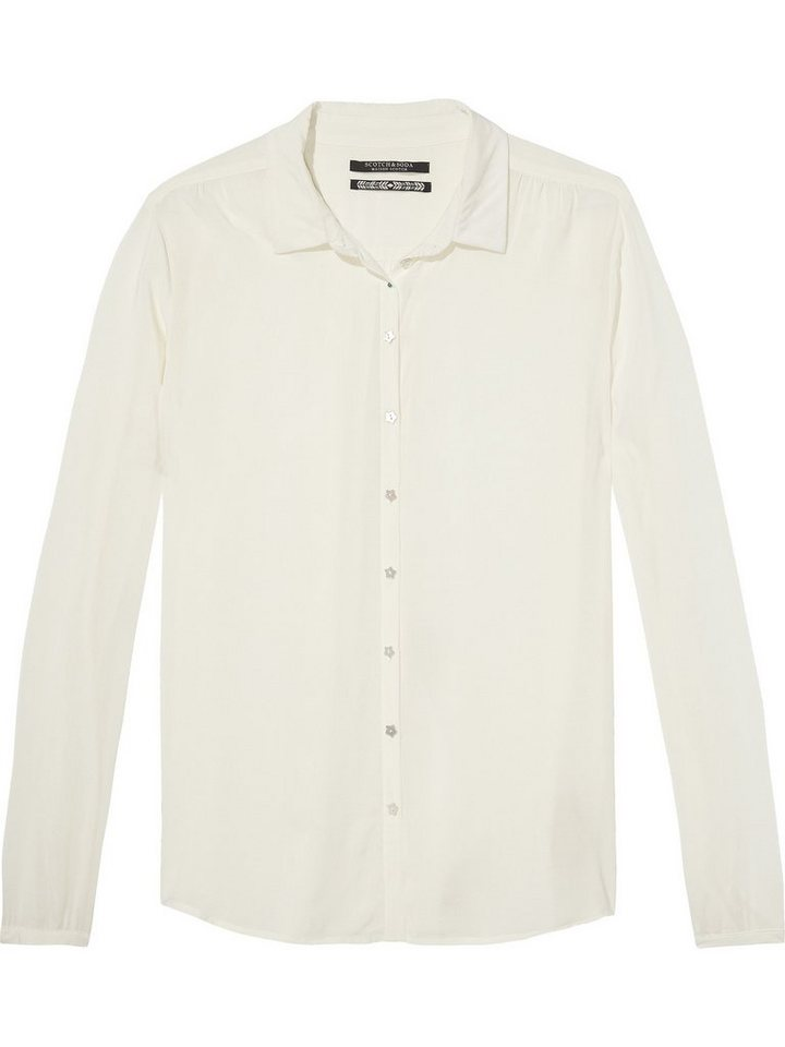Maison Scotch Bluse »Soft viscose shirt with star buttons« in weiß