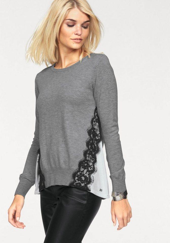 Laura Scott Rundhalspullover kontrastfarbig mit Spitze besetzt in grey-meliert