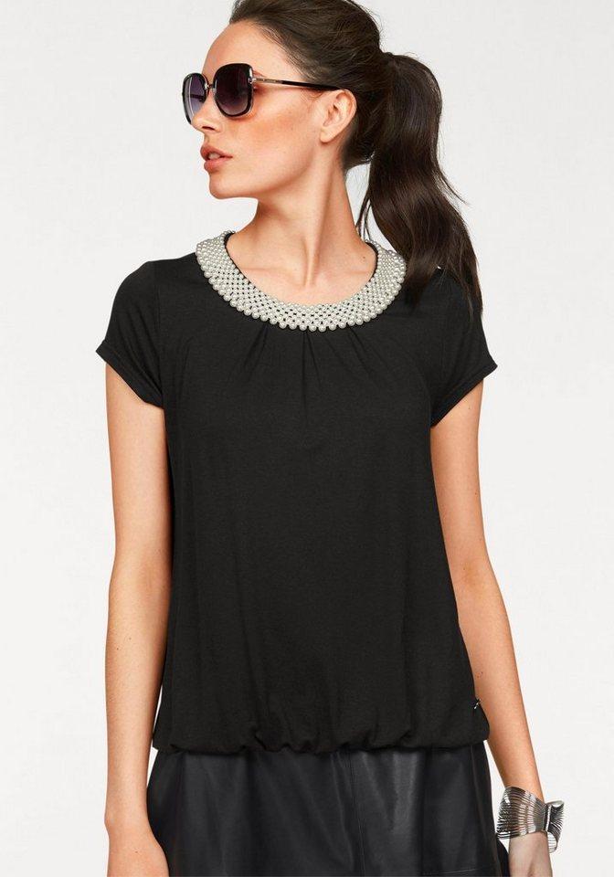 Bruno Banani T-Shirt Halsausschnitt mit Zierperlen-Besatz in schwarz