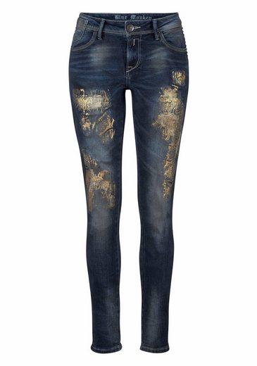 Blue Monkey Skinny-fit-Jeans Penny, mit glänzenden Spray-Effekten und Nieten