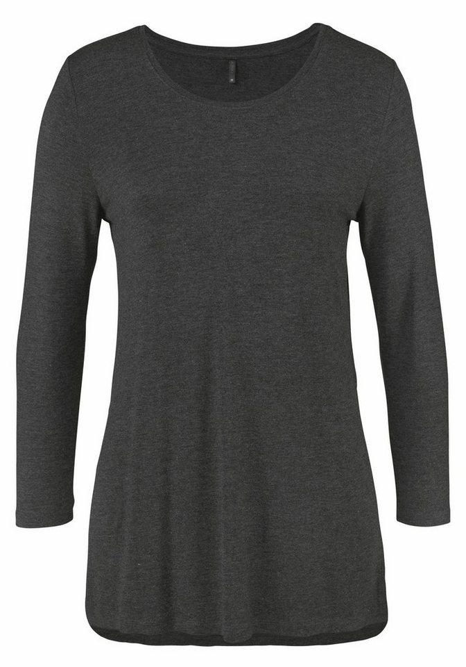 Only 3/4-Arm-Shirt »JEWEL« Mit Seitenschlitzen in anthrazit-meliert