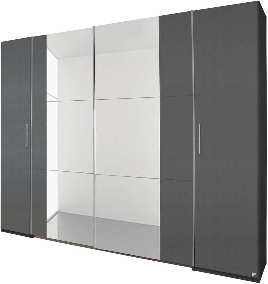 rauch Dreh-/Schwebetürenschrank mit Spiegel in graumetallic