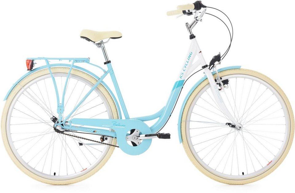 KS Cycling Damen-Cityrad, 28 Zoll, 3 Gang Shimano Nexus Nabenschaltung, »Belluno« in hellblau