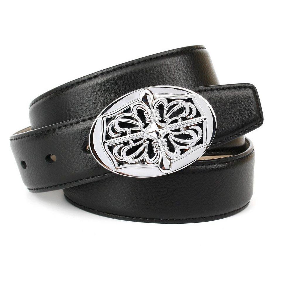 Anthoni Crown Ledergürtel mit Unterführung in Schwarz